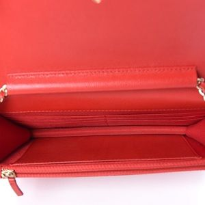 CHANEL Bags - {CHANEL} RARE Red Caviar Camellia WOC Bag